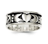 Unisex Sterling Silver Claddagh Design Ring
