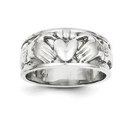 14K White Gold Unisex Claddagh Ring