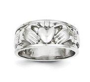 14K White Gold Unisex Claddagh Ring