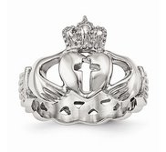 Stainless Steel Unisex Polished Claddagh with Cross Ring