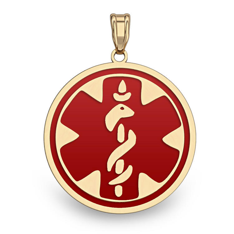 1//2 Inch X 1//2 Inch very Small WITH ENGRAVING PicturesOnGold.com 14K Filled Gold Round Medical Pendant