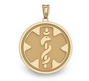 14K Gold Round Medical Pendant