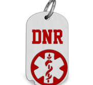 Stainless Steel Do Not Resuscitate Dog Tag Pendant