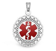 14k White Gold Medical ID Round Charm or Pendant with Red Enamel