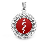 14K White Gold Round Medical Pendant W  RED ENAMEL