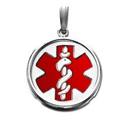 14k White Gold Medical ID Round Bezel Frame Charm or Pendant with Red Enamel