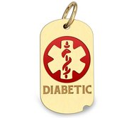 14K Gold Dog Tag  Diabetic  Pendant W  Red Enamel