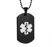 Black Plated Stainless Steel Medical ID Dog Tag Pendant w  24  Bead Chain