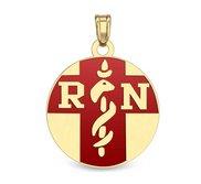 14K Gold Round  RN   Pendant W  Red Enamel