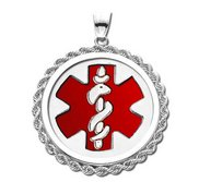 14K White Gold Rope Round Medical Pendant W  Red Enamel