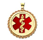 14K Gold Rope Round Medical Pendant W  Red Enamel