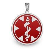 14K White Gold Round Medical Pendant W  RED ENAMEL