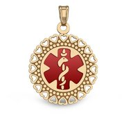 14k Yellow Gold Medical ID Round Charm or Pendant with Red Enamel