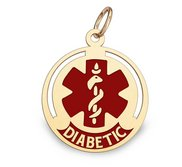 14K Gold Round Medical  Diabetic  Charm W  Red Enamel