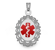 Sterling Silver Oval  Medical Pendant W  Red Enamel