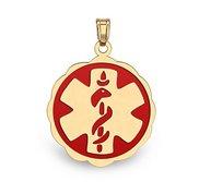 14K Gold  Floral Curved  Medical Charm W  Red Enamel