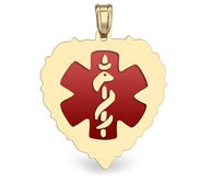14K Gold  Scalloped Heart  Medical Charm W  Red Enamel