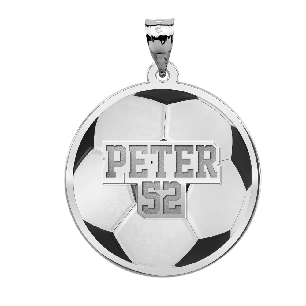 Sterling Silver Enameled and Polished Number One Soccer Pendant on a Sterling Silver Cable Snake or Ball Chain Necklace