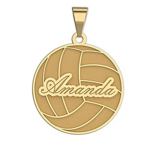 Personalized Volleyball with Script Name Disc Pendant or Charm
