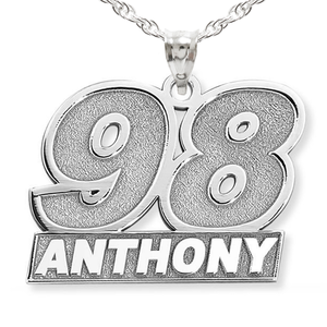 Personalized Racecar Number Pendant with Name