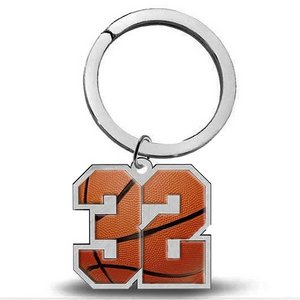 Sterling Silver Basketball Number   Stainless Steel Key Ring with 1 or 2 Digits