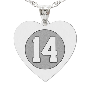 Heart Shaped Number Charm or Pendant