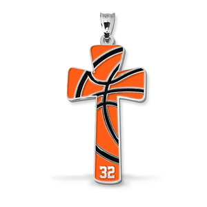 Basketball Stitch Enameled Cross Pendant w  Number