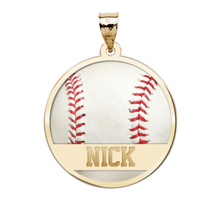 Color Enameled Baseball Pendant with Name
