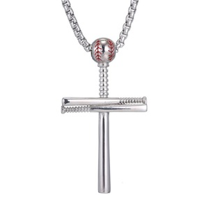 Sterling Silver Baseball Bat Cross Pendant w  20 inch Chain