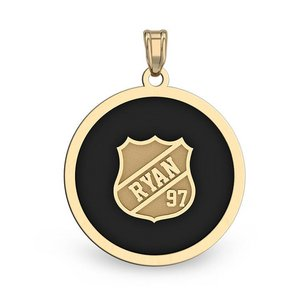 Color Enameled  Hockey Pendant with Name   Number