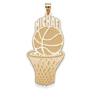 Custom Basketball Charm or Pendant with Name on Top