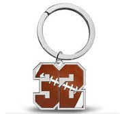 Sterling Silver Football Number   Stainless Steel Key Ring with 1 or 2 Digits