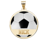 Color Enameled Soccer Pendant with Name