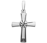 Sterling Silver High Polished Basketball Cross w  Number