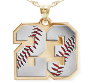 Color Enameled Baseball Number Charm or  Pendant with 2 Digits