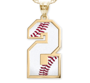 Baseball Color Enameled Single Number Pendant or Charm
