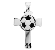 Soccer Stitch Enameled Cross Pendant w  Number