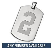 Stainless Steel Deep Engraved Sports Number XL Dog Tag Pendant