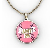 Color Enameled  Pink Softball Pendant with Name   Number