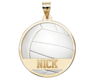Color Enameled Volleyball Pendant with Name