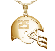 Personalized 3D Football Helmet with Number Charm or Pendant