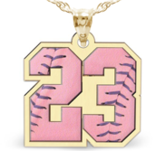 Color Enameled Pink Softball Number Charm or  Pendant with 2 Digits