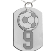 Soccer Dog Tag with Number and Swivel Pendant