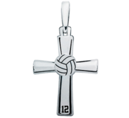 Sterling Silver High Polished Volleyball Cross w  Number