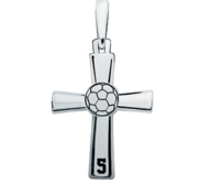 Sterling Silver High Polished Soccer Cross w  Number