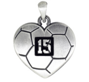 Sterling Silver Heart Shaped Soccer Pendant w  Number   Chain