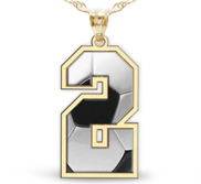 Soccer Color Enameled Single Number Pendant or Charm