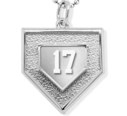 Personalized 3D Baseball Home Plate Pendant w  Number