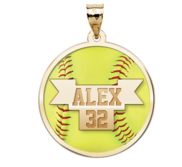 Color Enameled  Yellow Softball Pendant with Name   Number