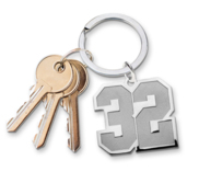 Jersey Number Keychain with one Digit